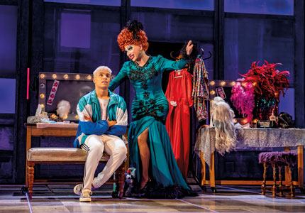 Noah Thomas and Bianca Del Rio in Everybody's Talking About Jamie at the Apollo Theatre, London