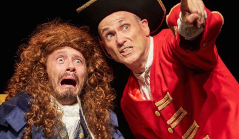 Two performers on stage in Horrible Histories Barmy Britain Part Four at the Apollo Theatre, London