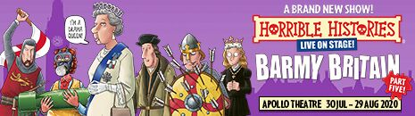 Horrible Histories Barmy Britain part 5 at the Apollo Theatre, London