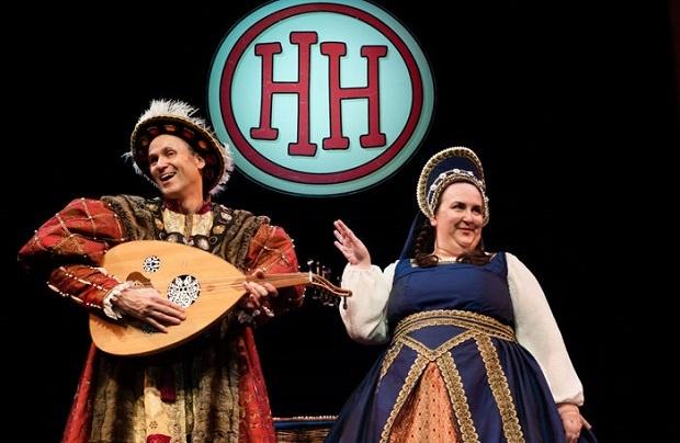 Actors performing on stage in Horrible Histories: Barmy Britain at the Apollo Theatre, London